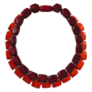 Orange & Red Resin Double Necklace