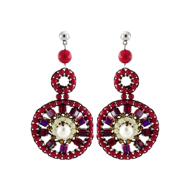 Red & White Crystal Earrings