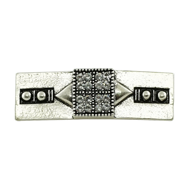 Silver Plated Brooch w/ Crystals