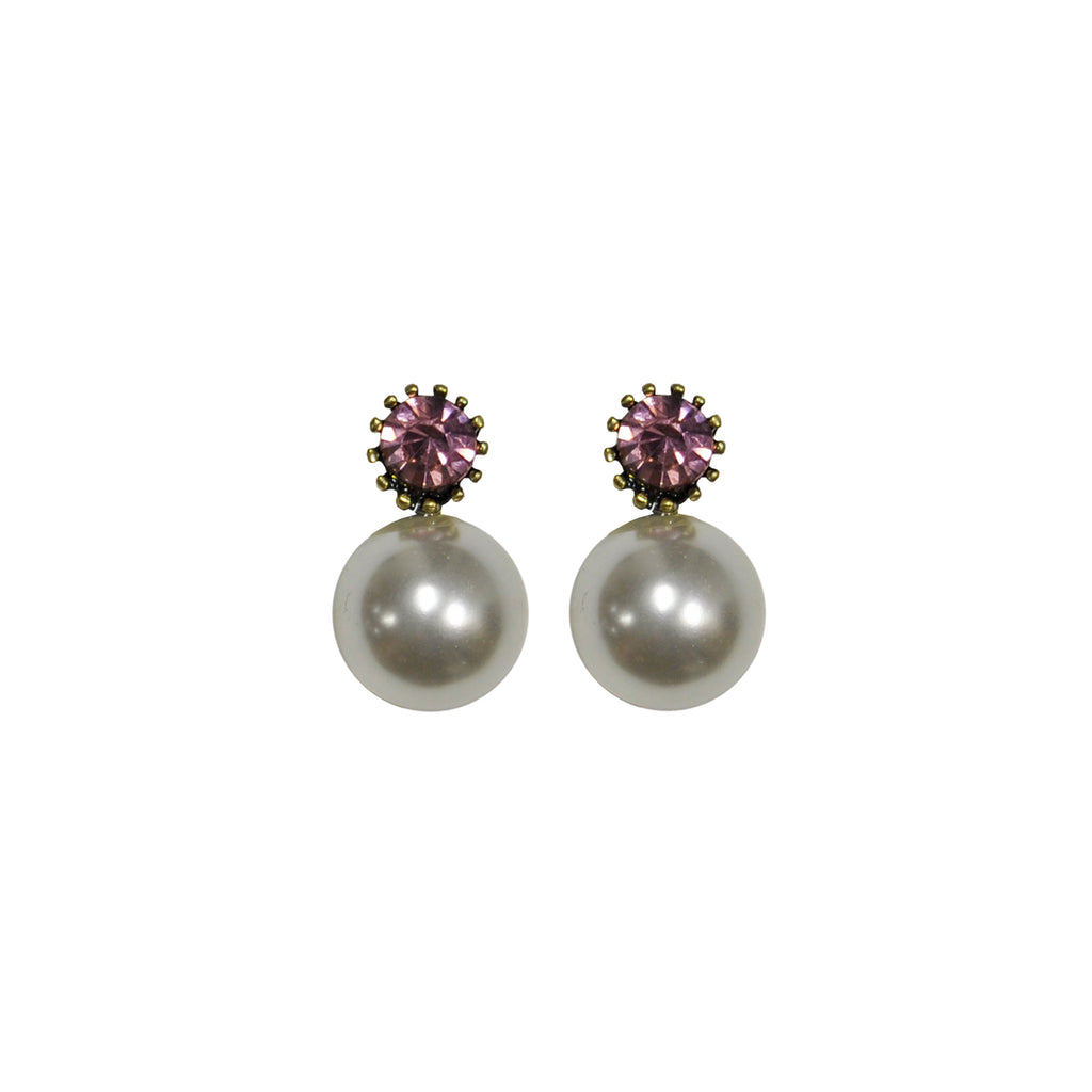 Pearl and pink crystal earrings