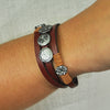 Red Two-turn Bracelet w/ Gunmetal & Leather Details