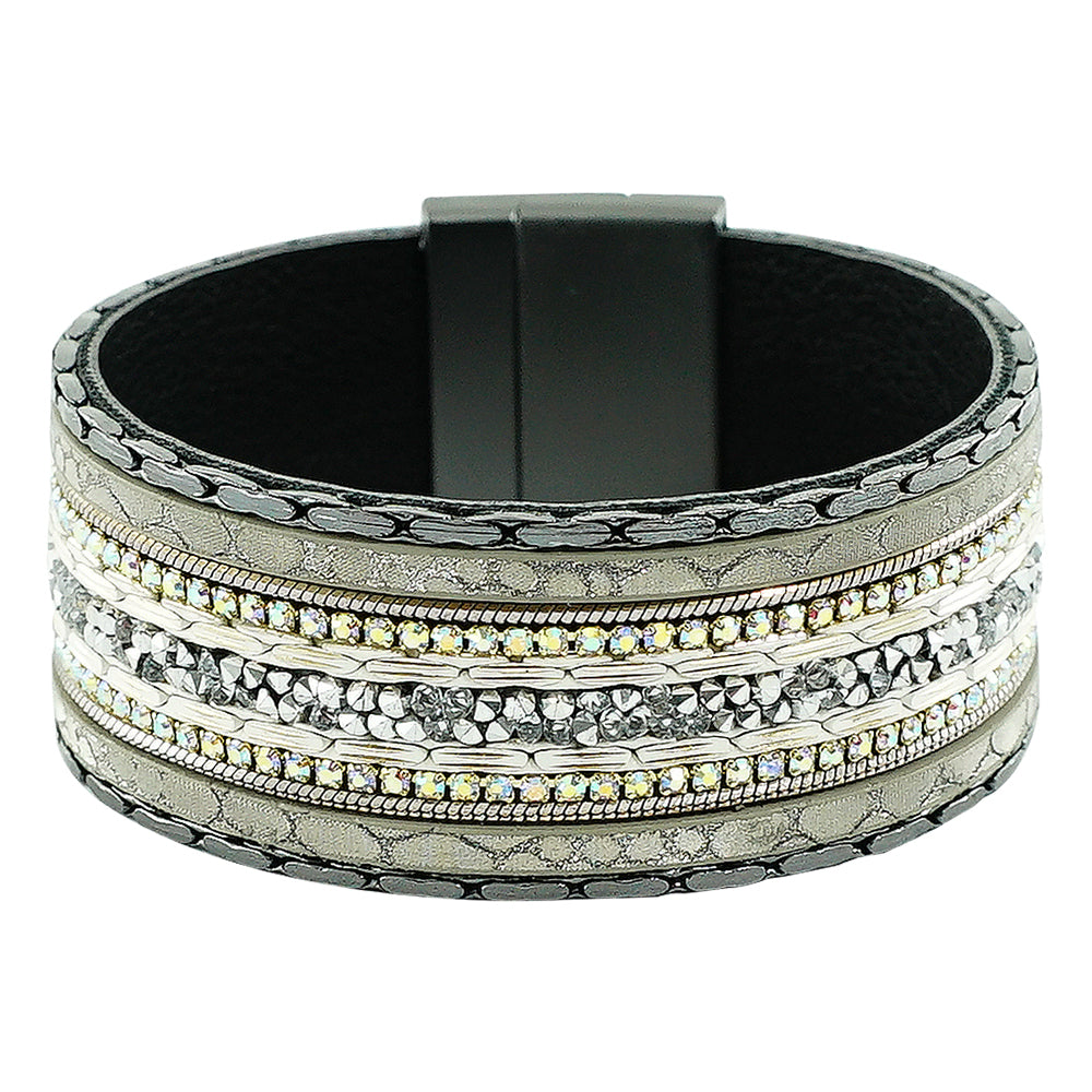 Gunmetal Bracelet w/ Crystals & Patterns