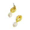 Golden Conch Earrings w/ Cultured Pearl