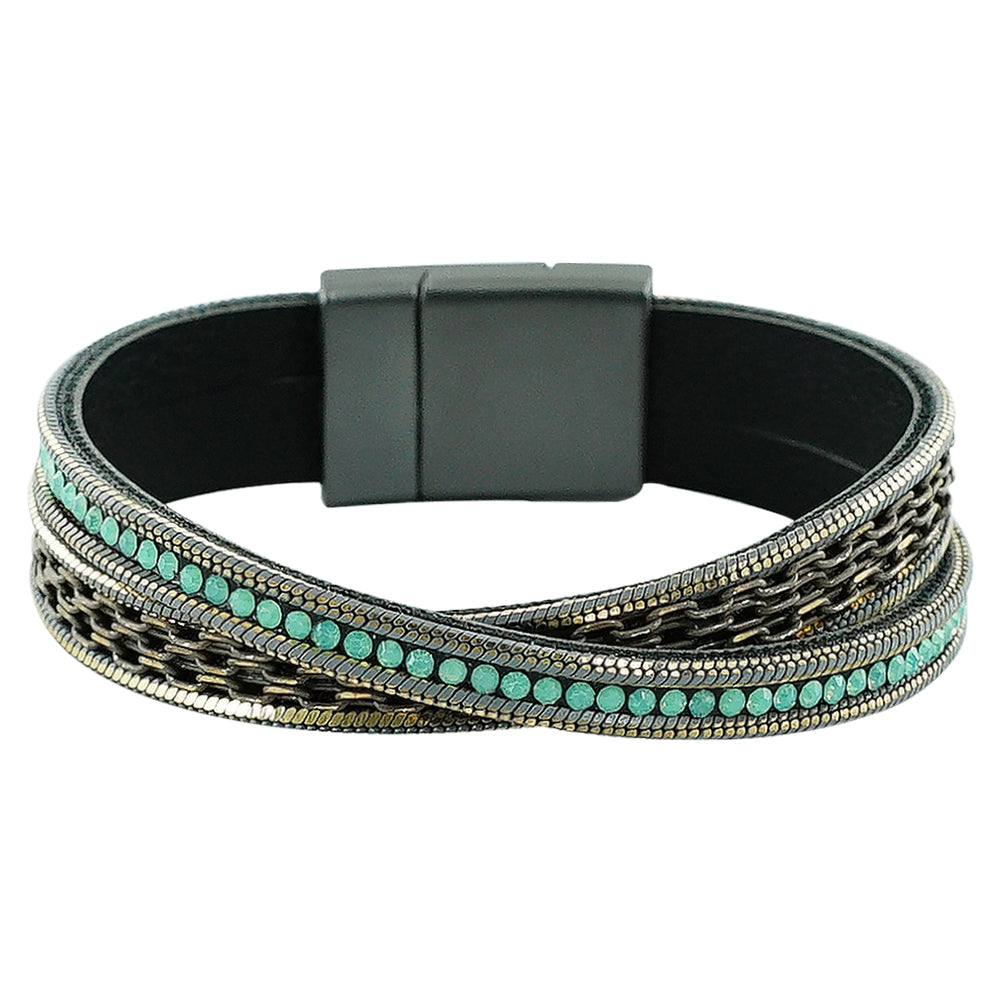 Gunmetal Bracelet w/ Chains & Green Crystals