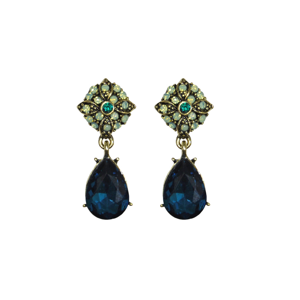 green and blue crystal earrings