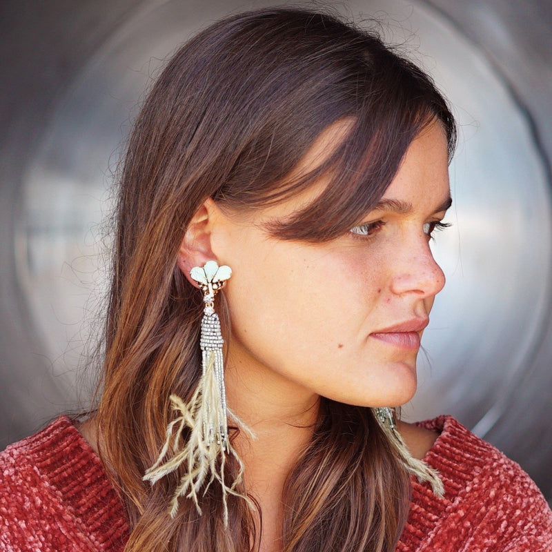 Green Feather Earrings