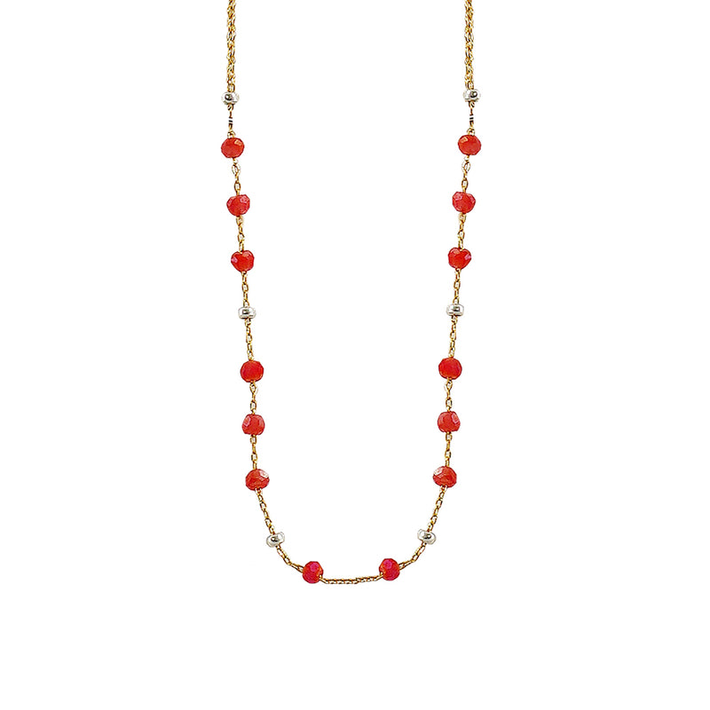 Golden Necklace w/ Red Crystals
