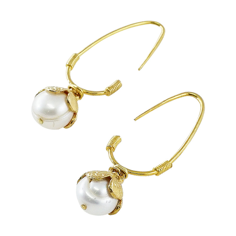 Golden Earrings w/ Cultured Pearls