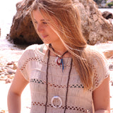 Wood Necklace with Shell & Blue Tassel