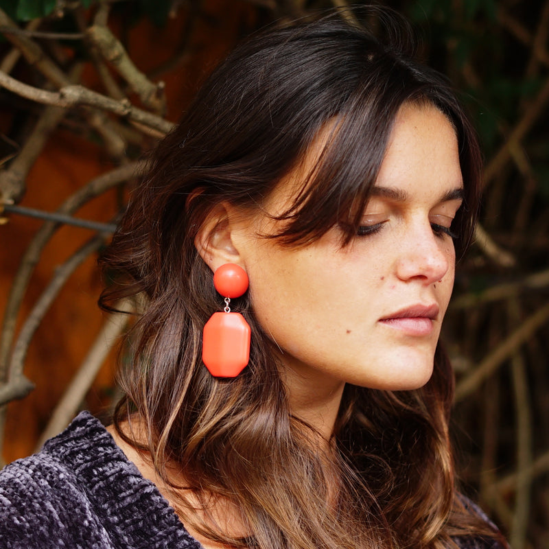 Light Red Resin Earrings