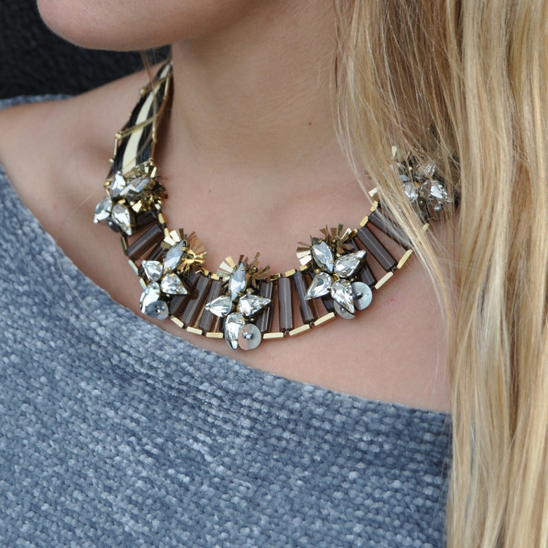 Black & Golden Necklace w/ Crystal Flowers