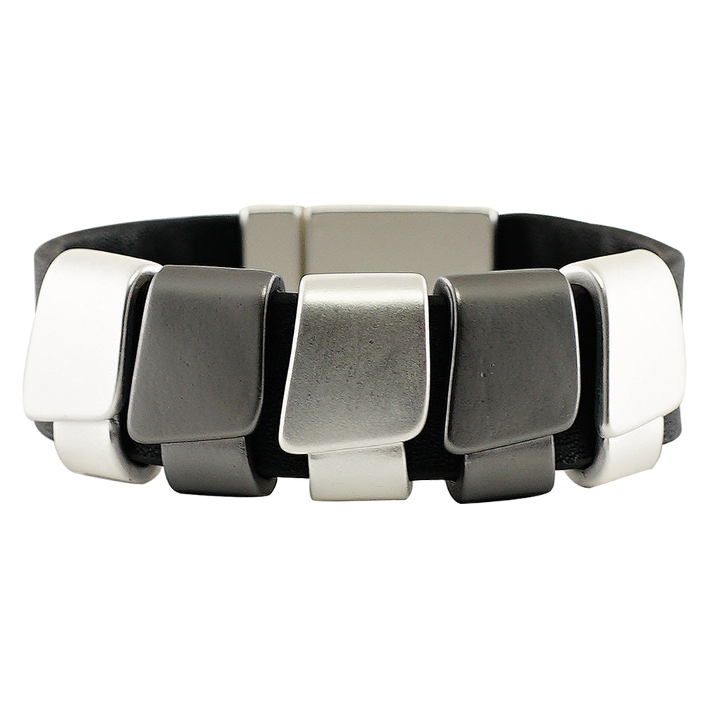 Black leather bracelet w/ silver and Gunmetal shapes