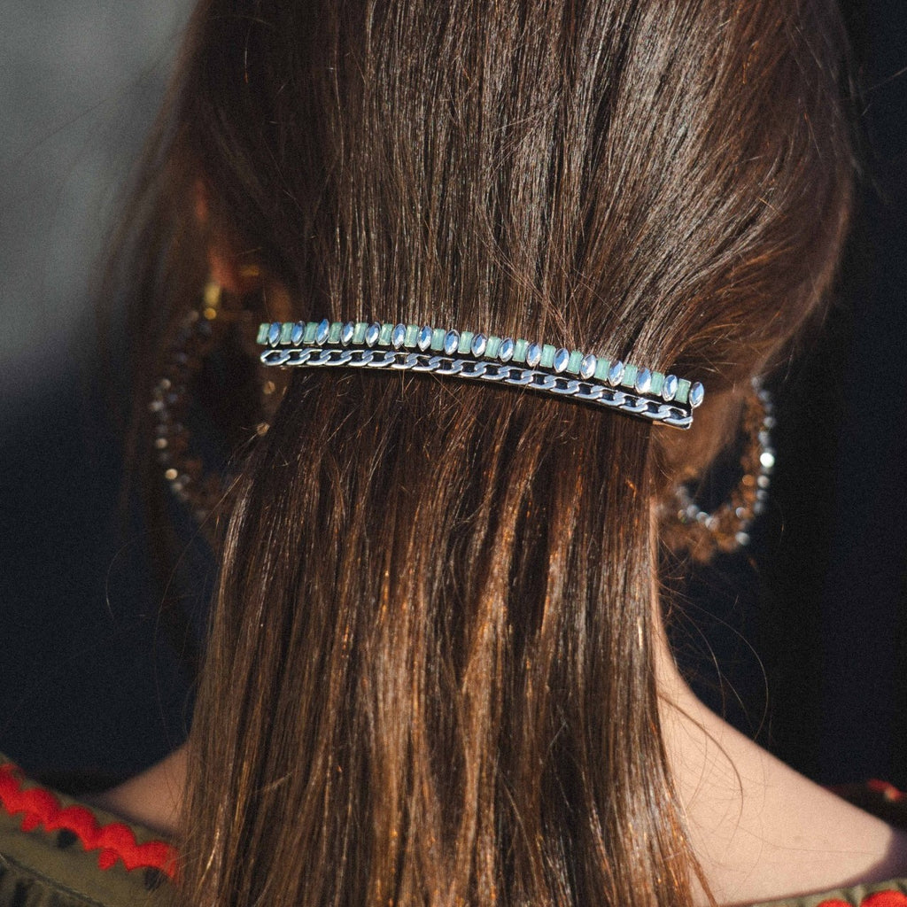 Silver Hairclip w/ Chains & Crystals