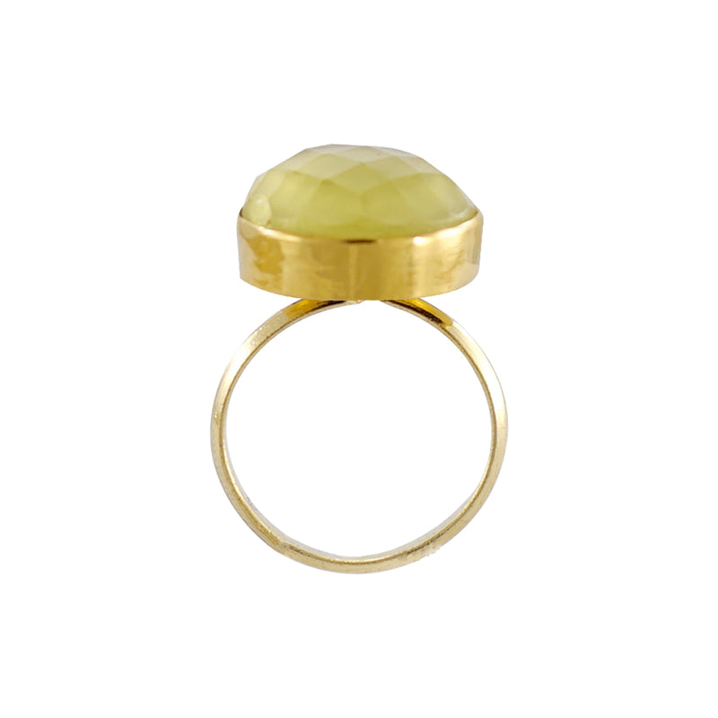 Golden Ring w/ Chiseled Yellow Stone