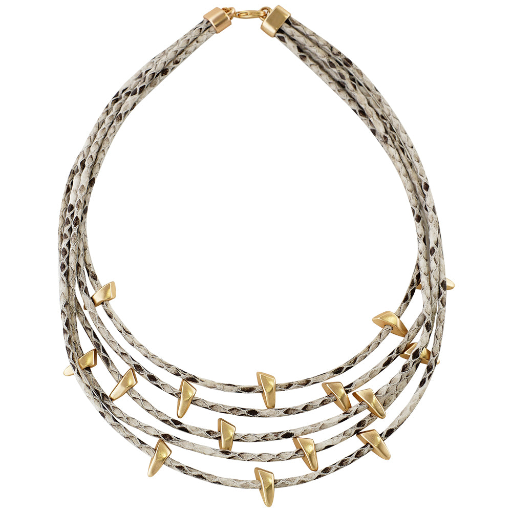 White Necklace w/ Golden Details