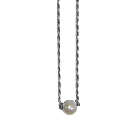 Grey Necklace with Pearl & Crystals