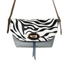 Zebra Animal print and Grey Leather Handbag