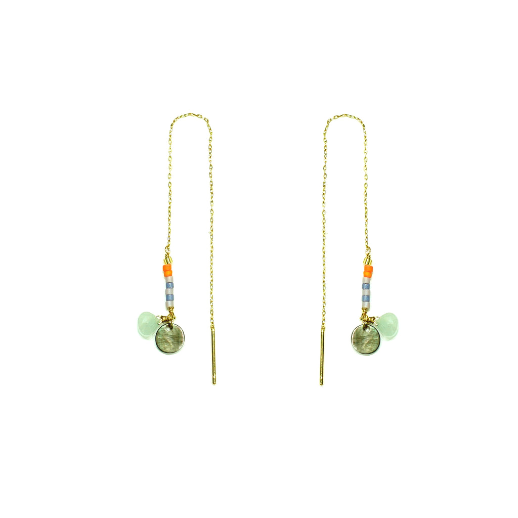 Gold earrings w/ multicolored miyuki beads and blue stone