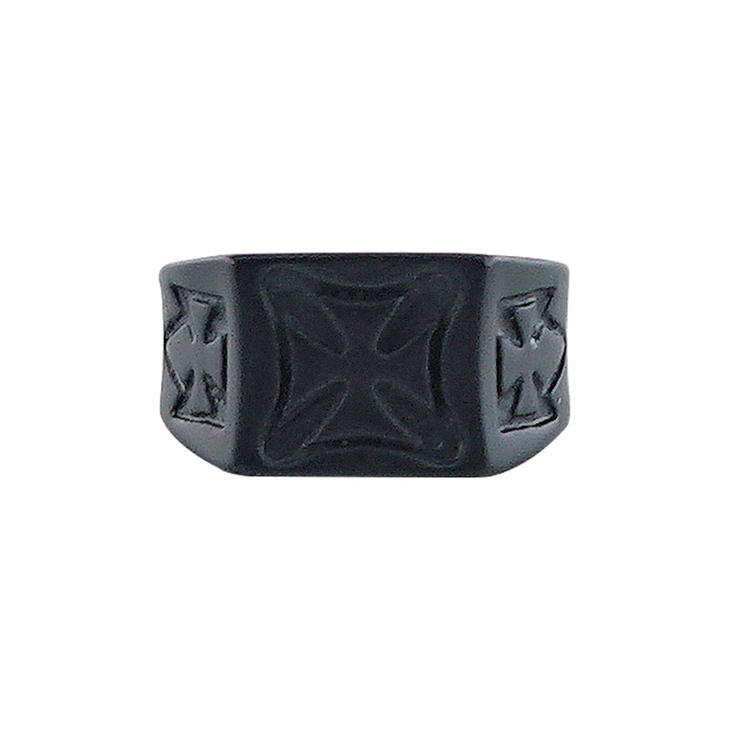 Black Ring w/ Crosses
