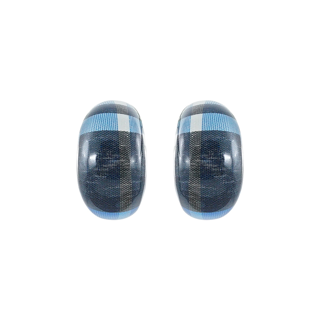 Resin Earrings w/ Blue Pattern