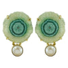 Golden Earrings w/ Green Stone & Cultured Pearl