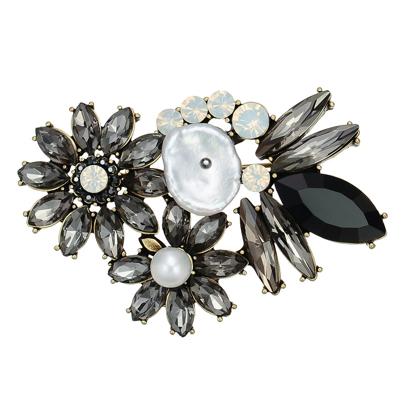Black & White Crystal Brooch