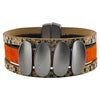 Orange leather bracelet w/ Gunmetal shapes