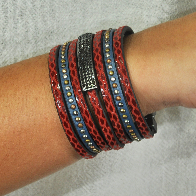 Red & Blue Bracelet w/ Crystals