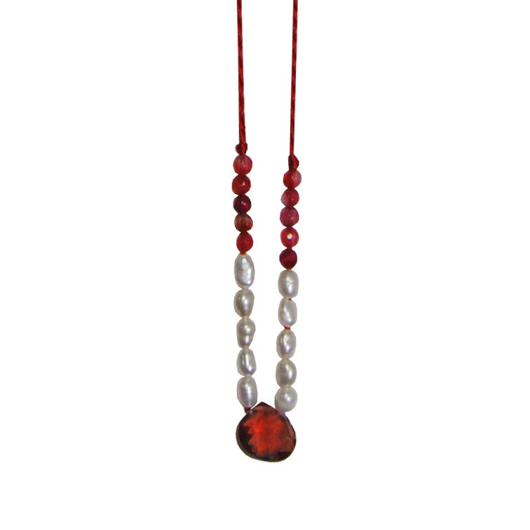 Red Necklace with Pearls & Stone