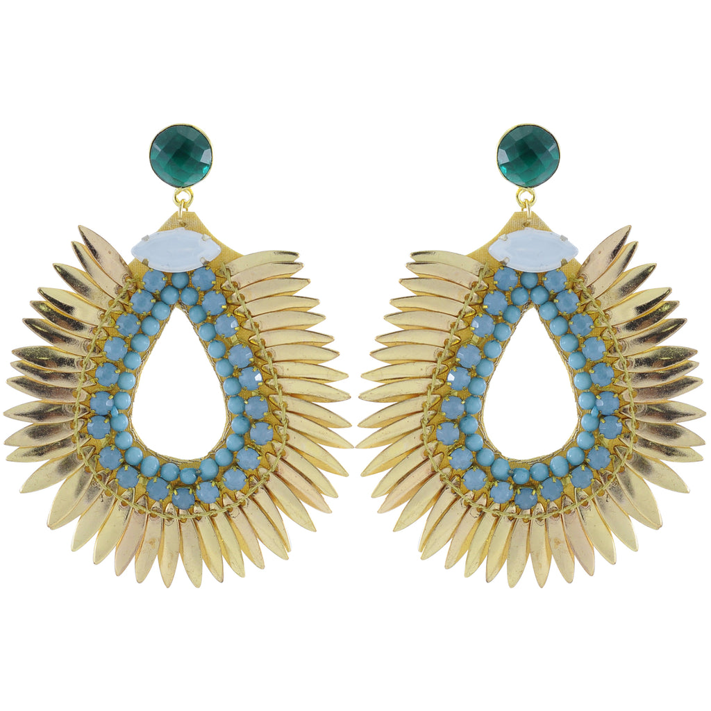 Golden Earrings w/ Blue Crystals