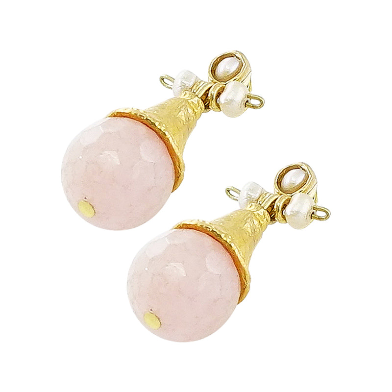 Golden Earrings w/ Pink Jade Stone & Cultured Pearls