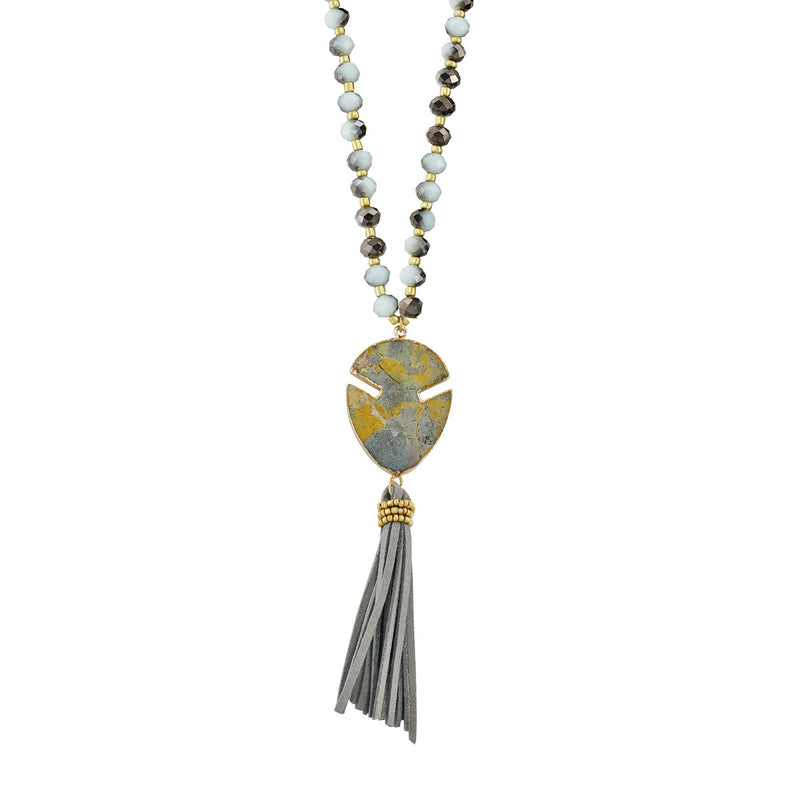 Stone Pendant & Suede Tassel Necklace w/ Crystals & Stones