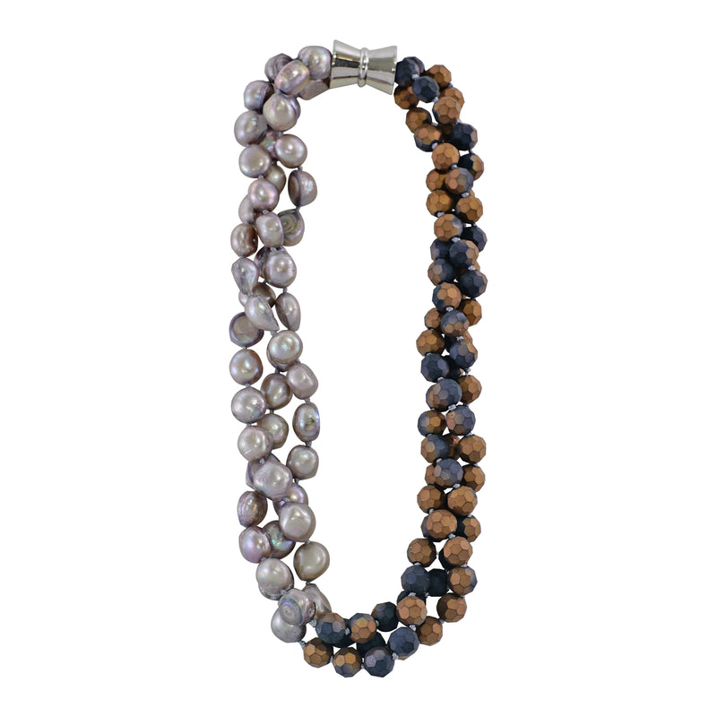Cultured Pearls & Brown Crystal Necklace