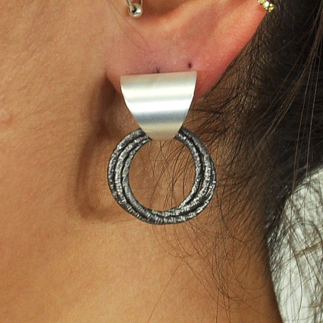 Silver & Gunmetal Earrings