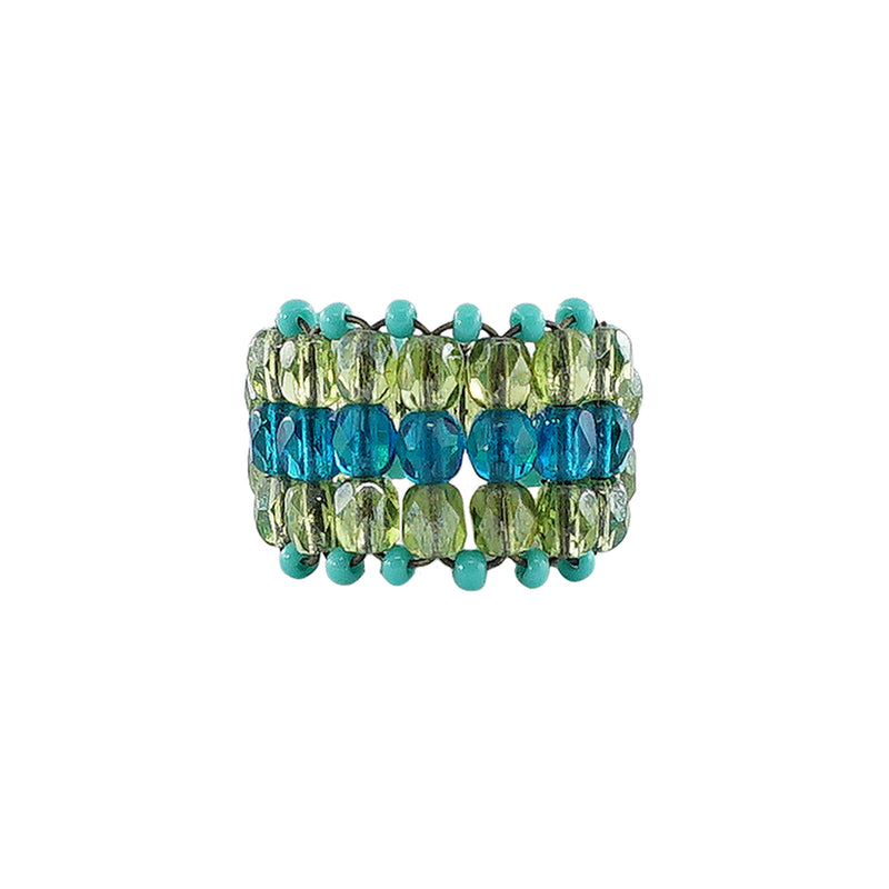 Blue & Green Crystals Ring