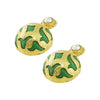 Golden Earrings w/ Cultured Pearl & Green Silk