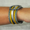 Leather Bracelet w/ Yellow Fur & Gunmetal Detail