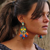 Multicolored Earrings w/ Tassels