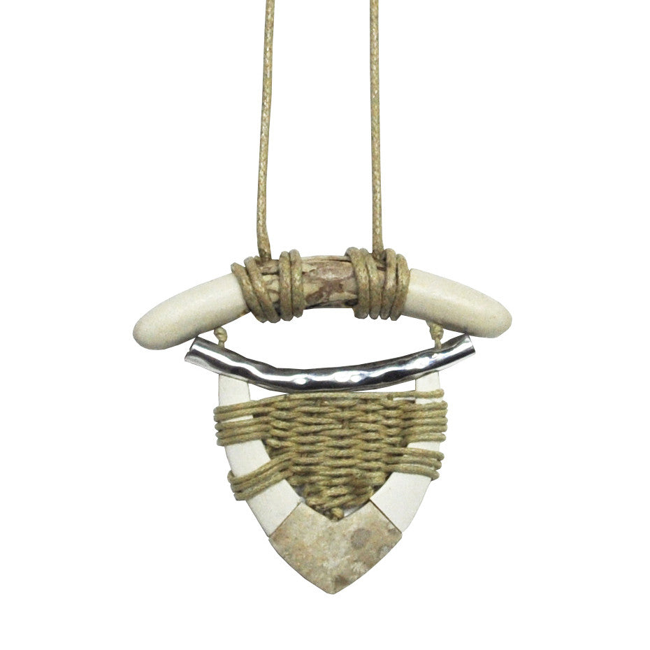 Wood Necklace with Stone & Silver Detail