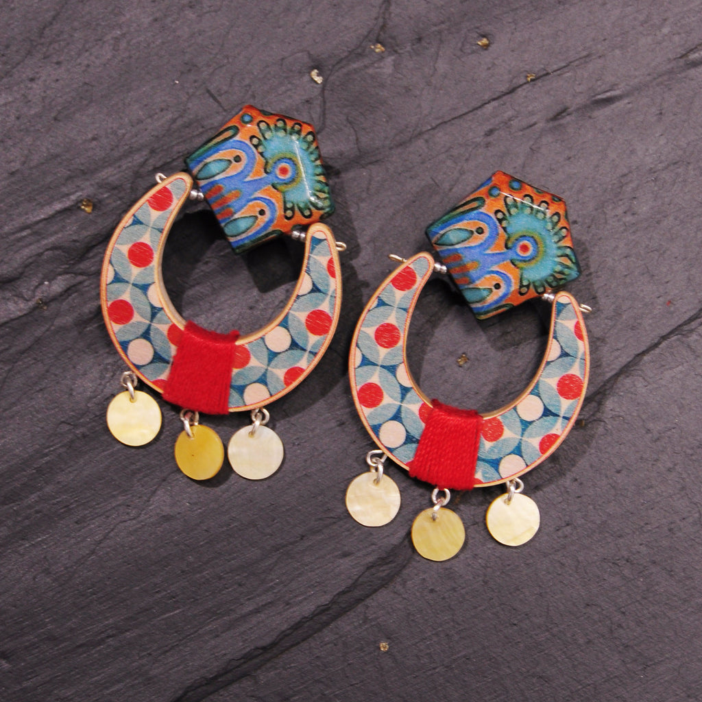 Multicolor Wood Earrings with Pendant