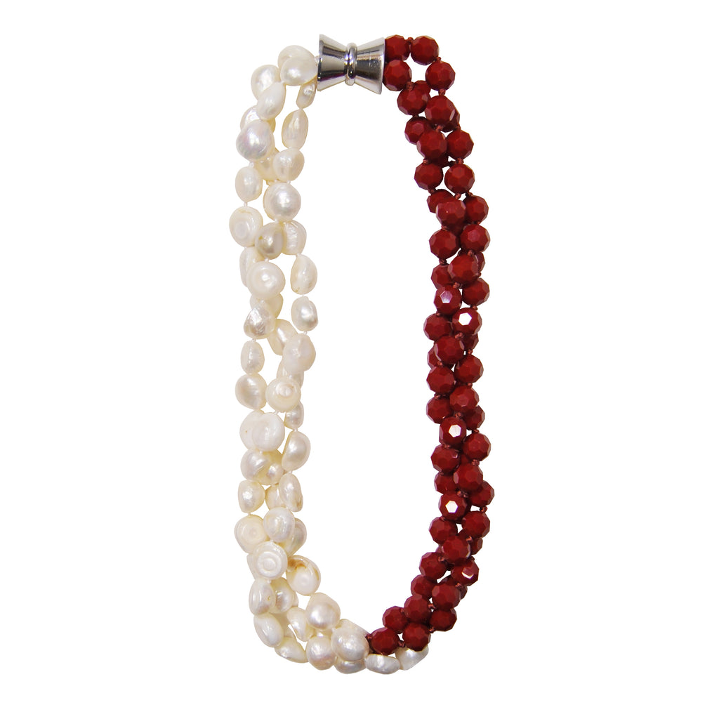 Red Necklace with Freshwater Pearls