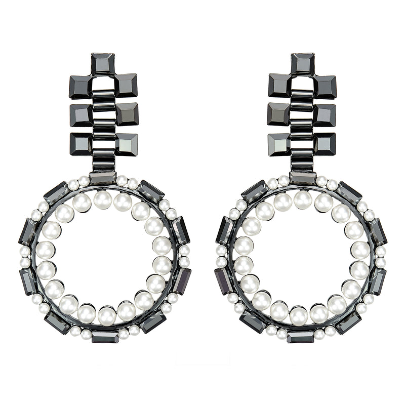 Gunmetal Crystal Earrings w/ Pearls