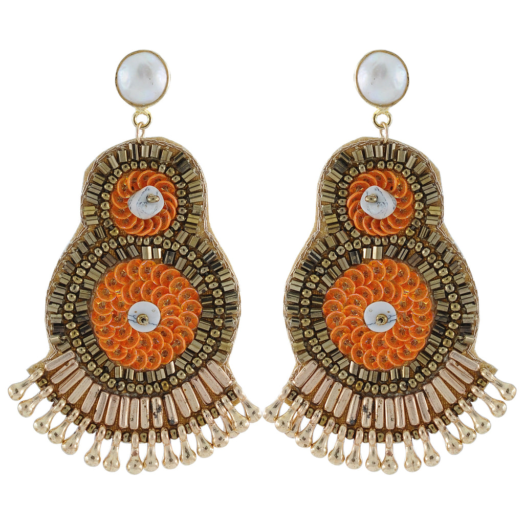 Golden Earrings w/ Orange Beads
