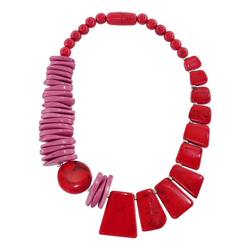 Red & Pink Resin Necklace