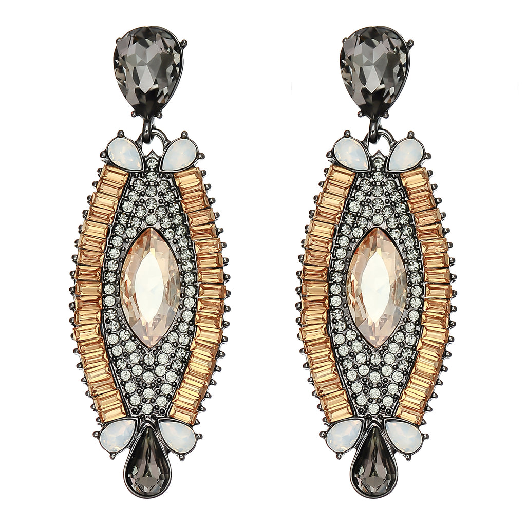 Brown & Black Crystal Earrings