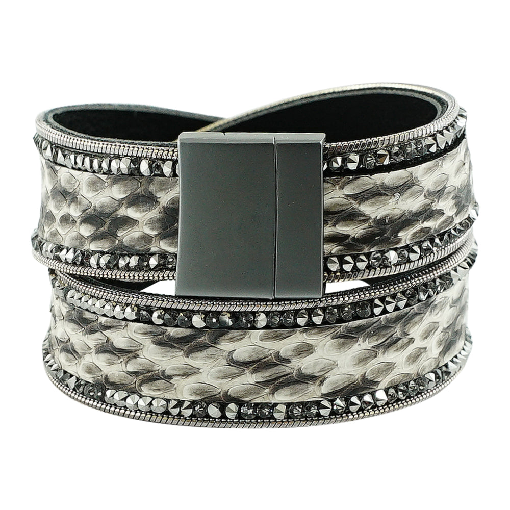 Double Gunmetal Bracelet w/ Crystals & Pattern