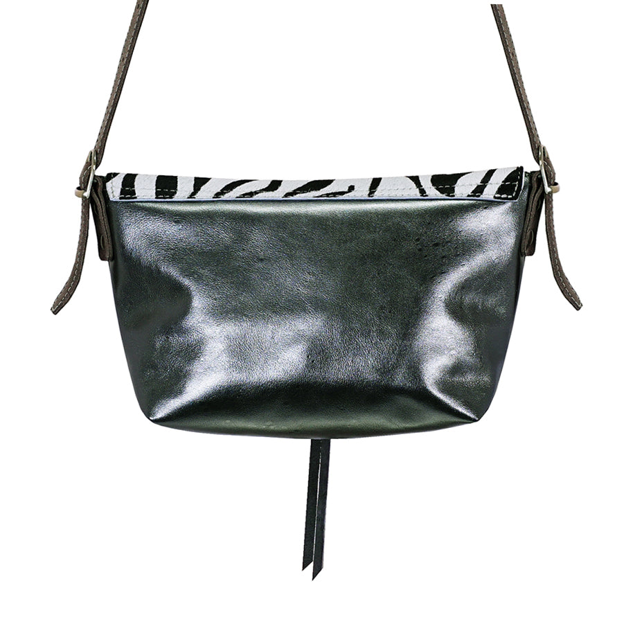 Zebra Animal print and silver leather handbag