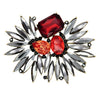 Red & Black Crystal Brooch
