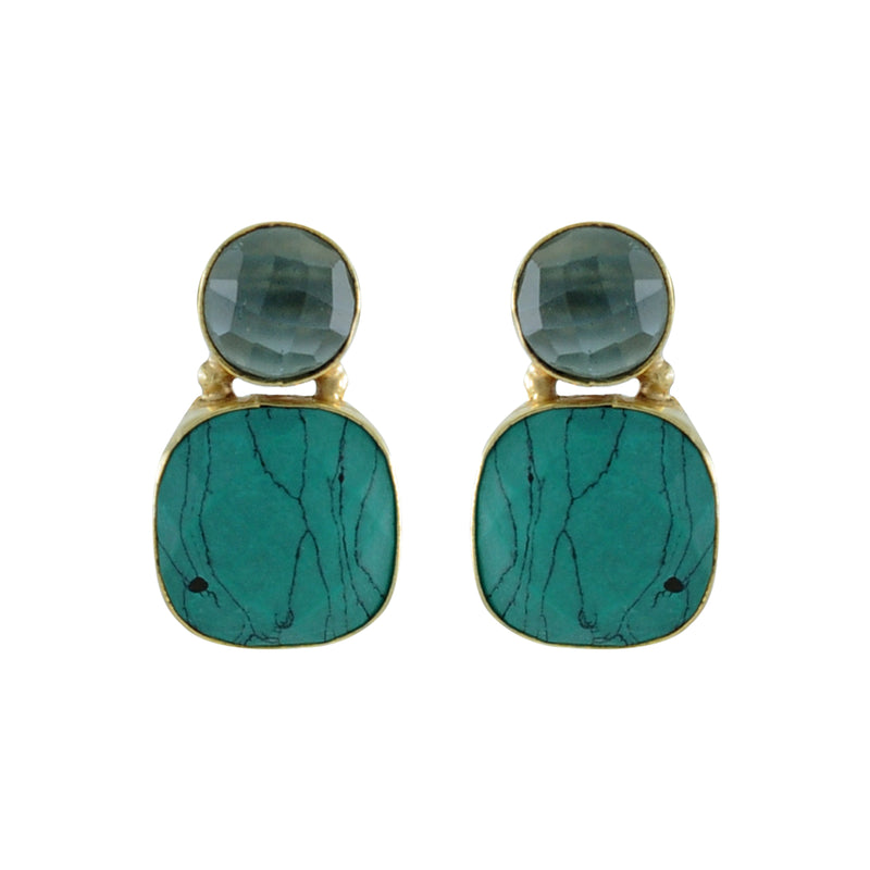 Golden Earrings w/ Turquoise Stone