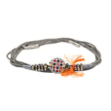 Grey Bracelet with Orange Tassel
